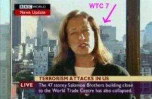 """A elle seule, cette image détruit la """"thèse"""" officielle. Ceux qui savaient ont transmis trop tôt l'info sur la chute encore à venir du WTC7. Ordures, mais bêtes."""